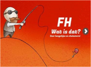 Eerste pagina van 'FH wat is dat' met een meneertje met een grote hengel.  Aan de haak hangt een klein rood bolletje cholesterol.