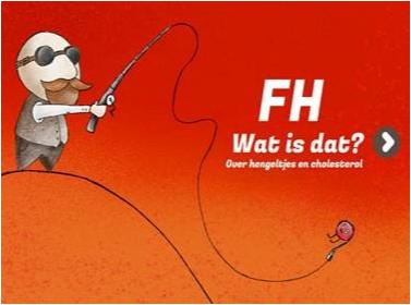 Voorpagina van het e-book 'FH wat is dat?' met een meneer die hengelt naar een cholesterolbolletje